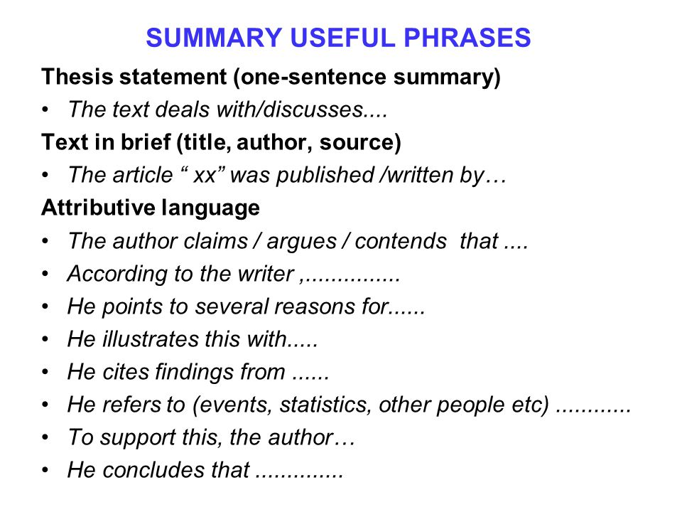 SUMMARY USEFUL PHRASES