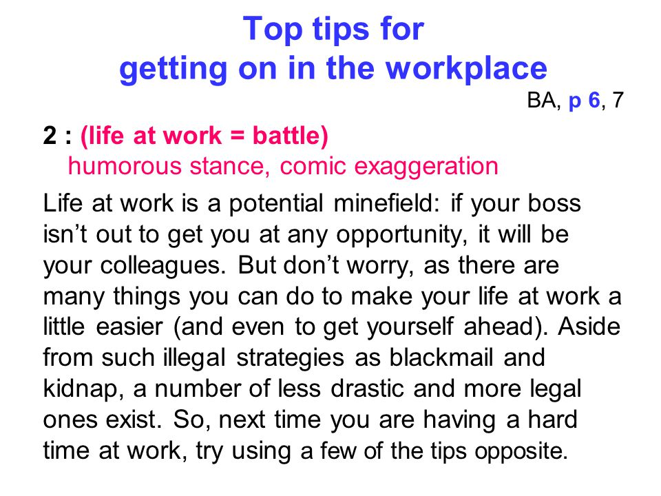 Top tips for getting on in the workplace