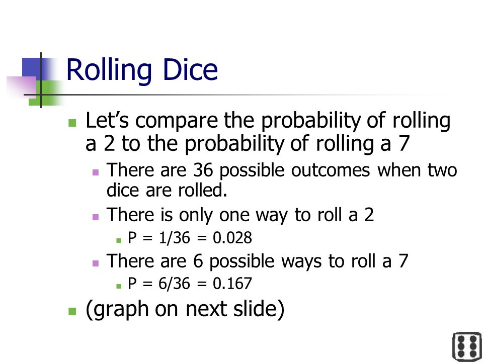 Rolling Dice Let's compare the probability of rolling a 2 to the probability of rolling a 7.