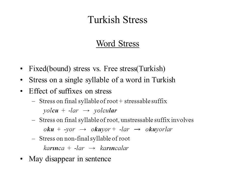 Turkish Stress Word Stress