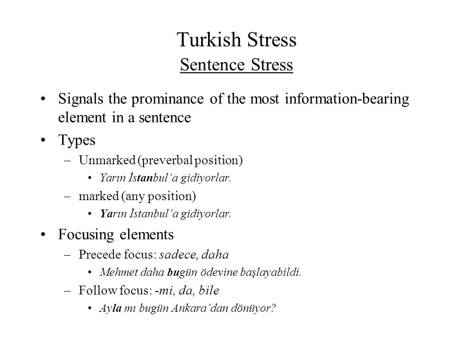Turkish Stress Sentence Stress