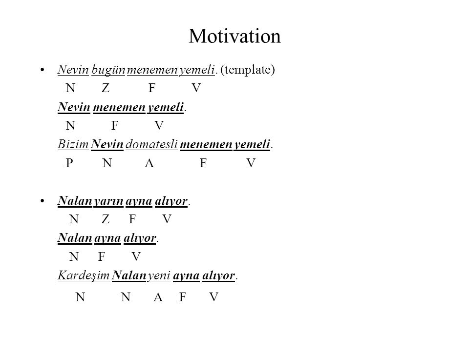 Motivation Nevin bugün menemen yemeli. (template) N Z F V