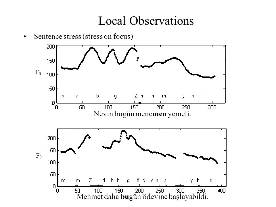 Local Observations Sentence stress (stress on focus)