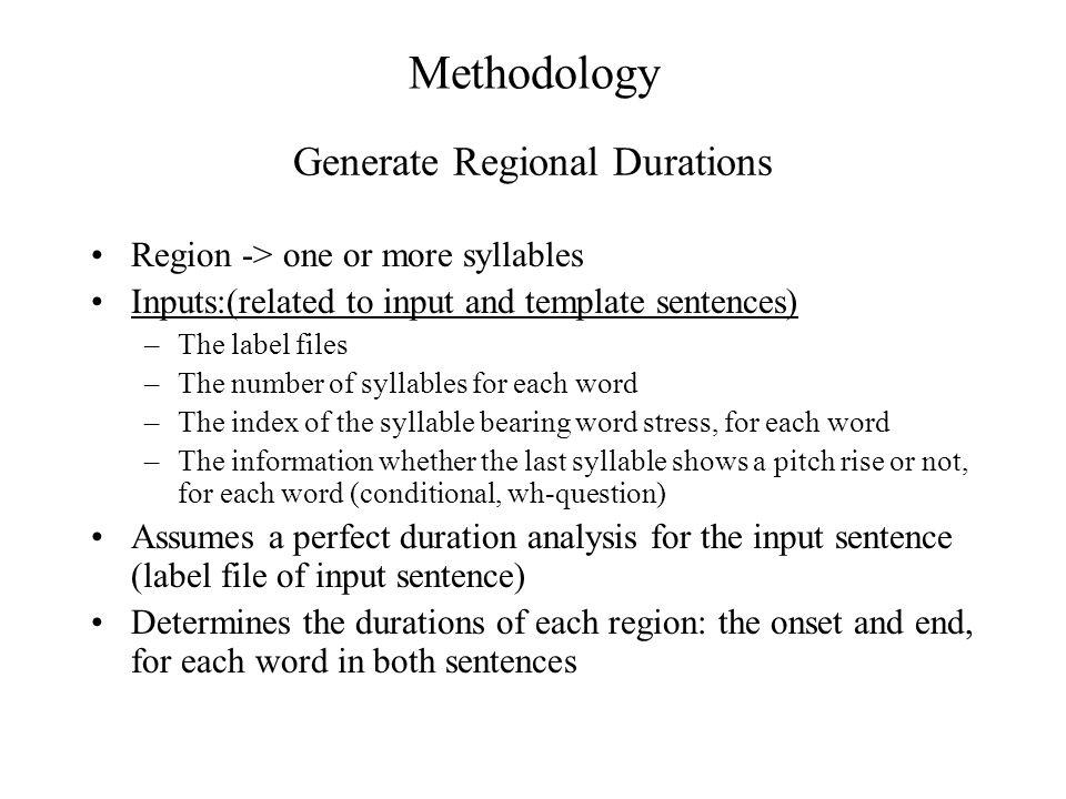 Generate Regional Durations