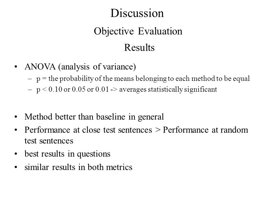 Discussion Objective Evaluation Results ANOVA (analysis of variance)