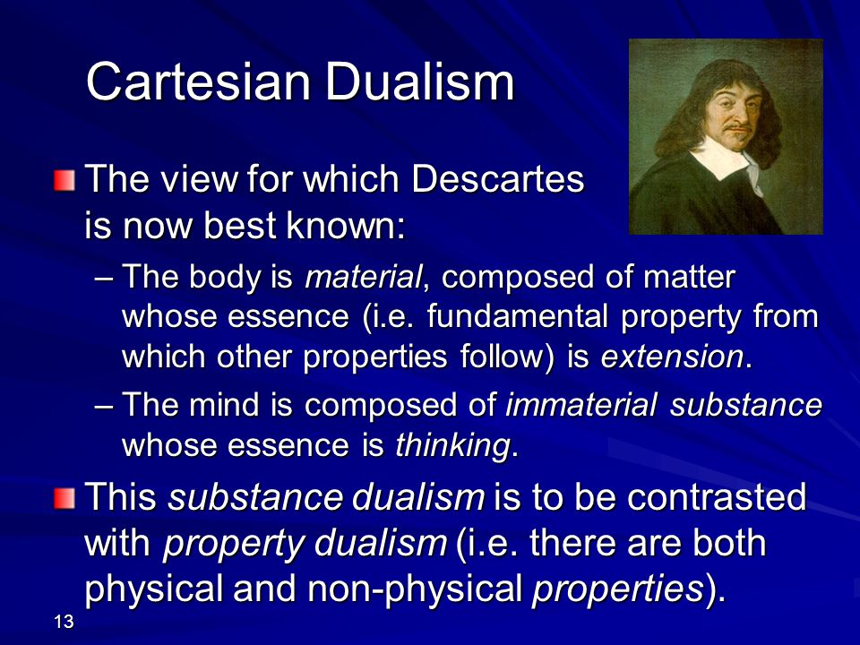 Cartesian Dualism The view for which Descartes is now best known: