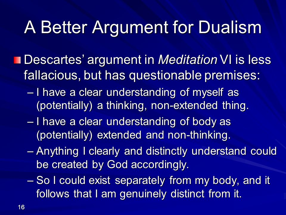 A Better Argument for Dualism