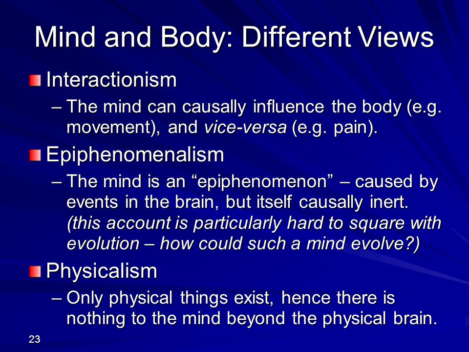 Mind and Body: Different Views