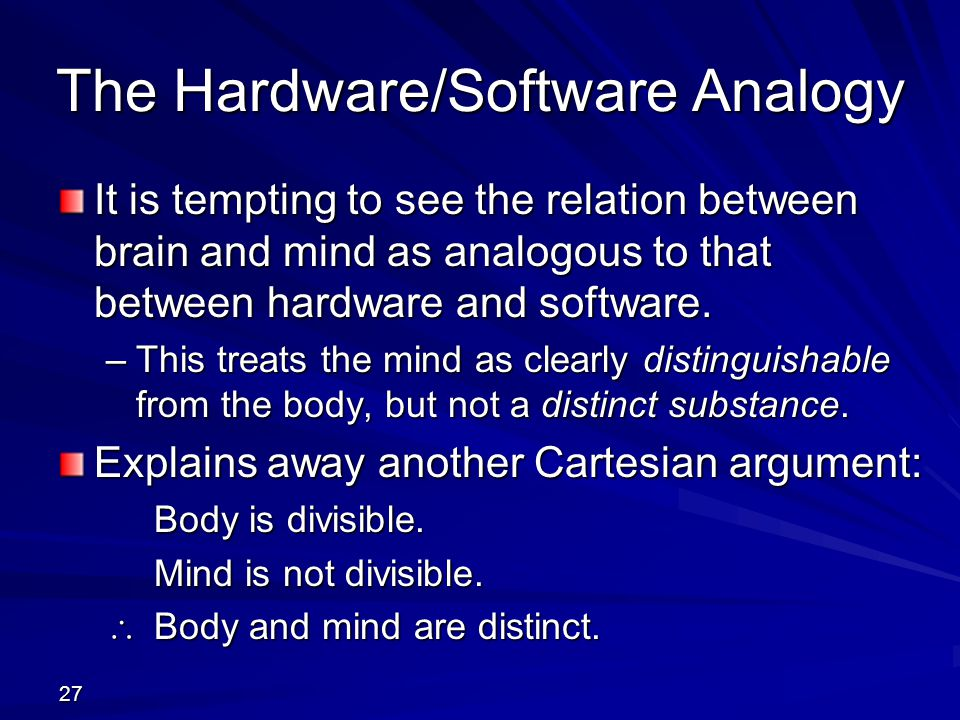 The Hardware/Software Analogy