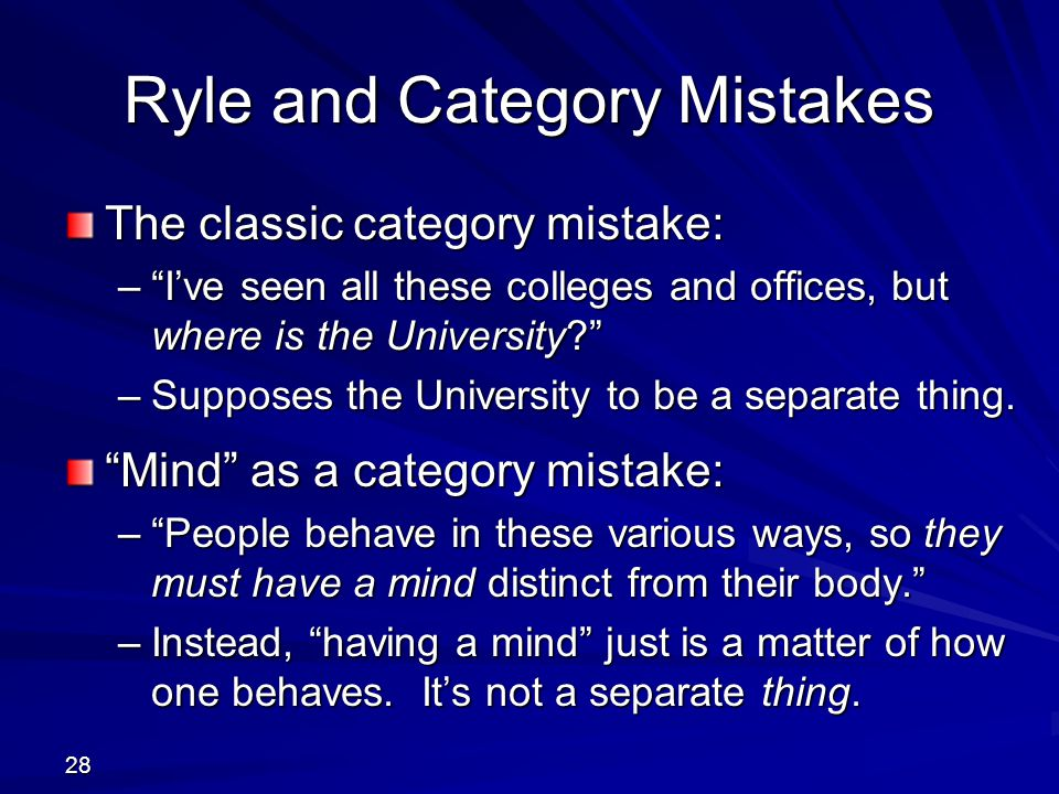 Ryle and Category Mistakes