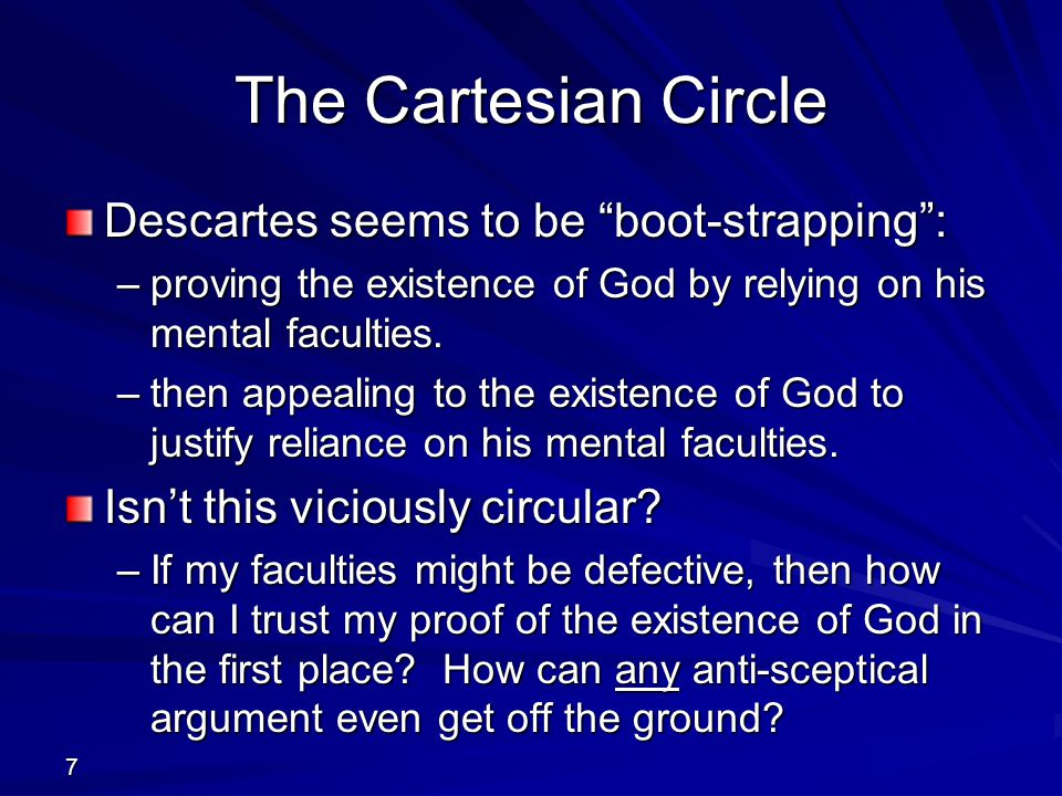 The Cartesian Circle Descartes seems to be boot-strapping :