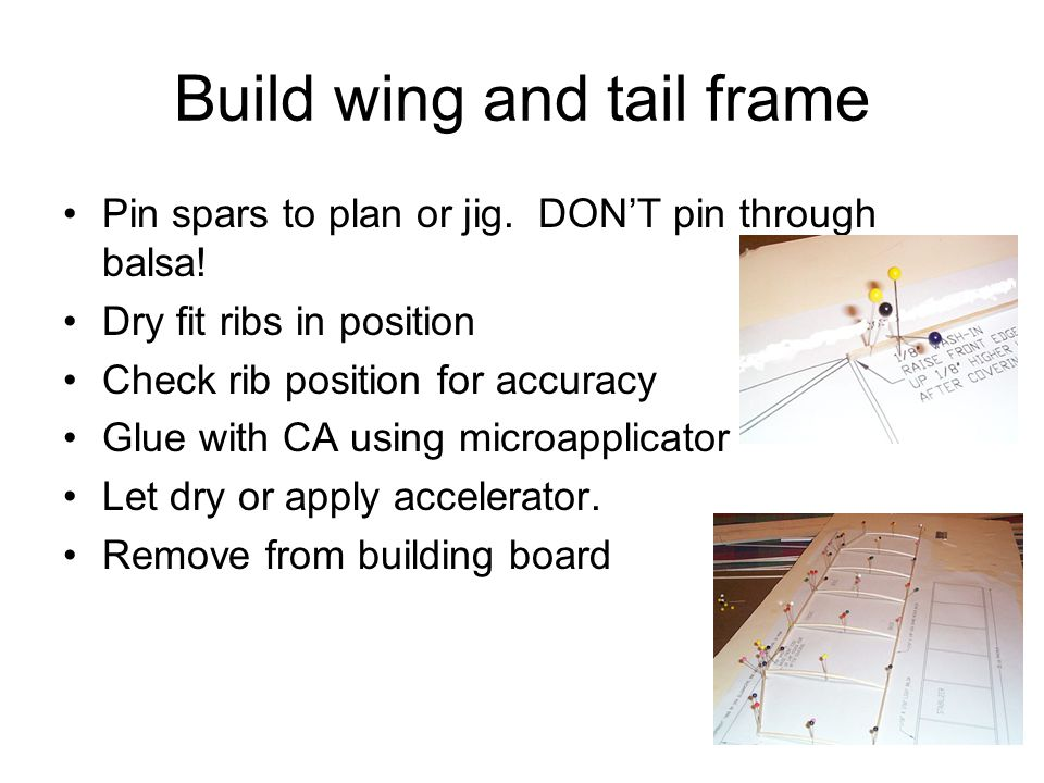 Build wing and tail frame