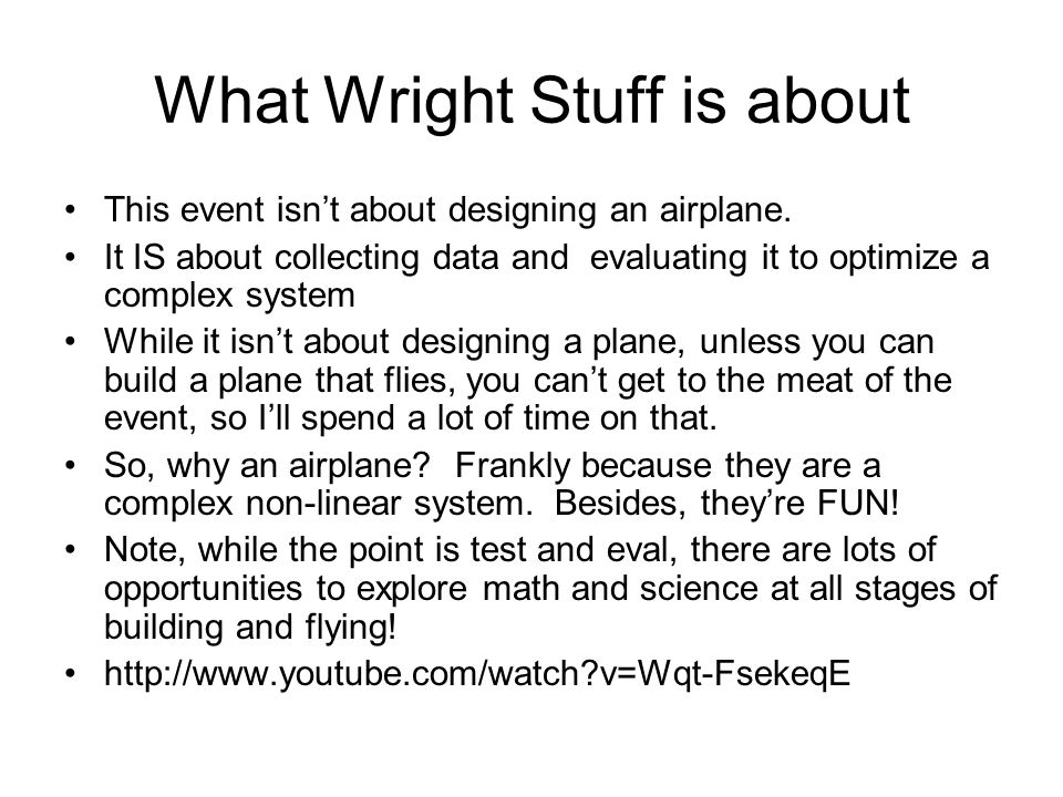 What Wright Stuff is about