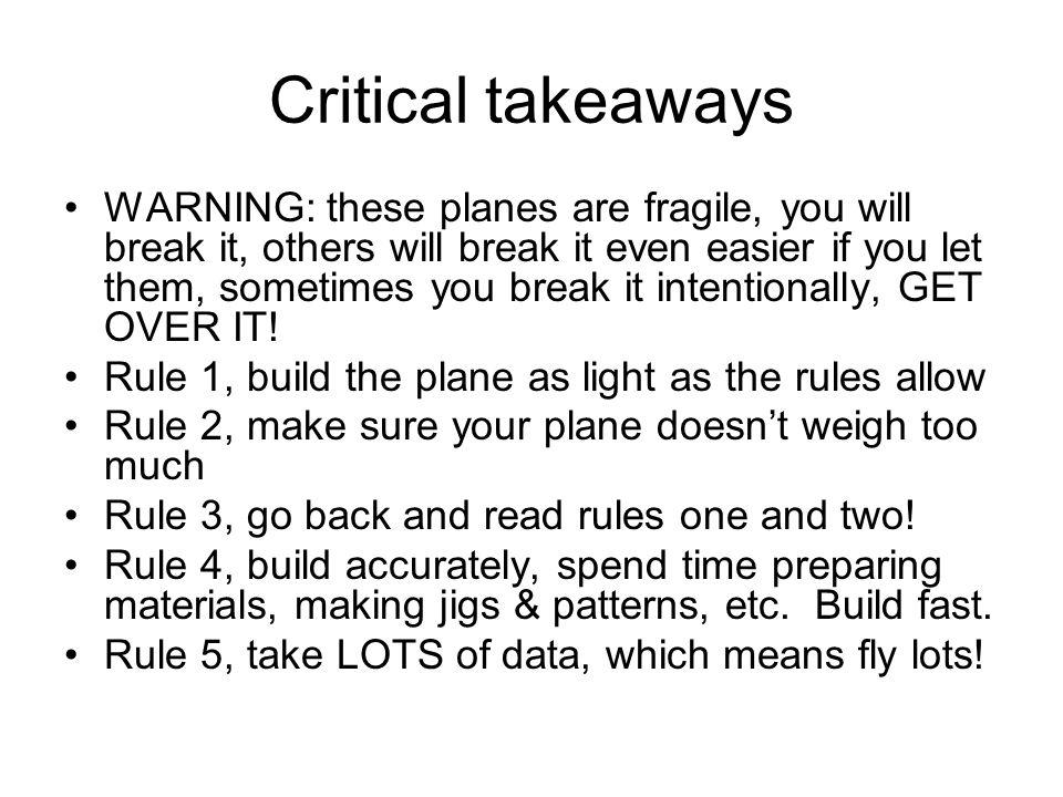 Critical takeaways