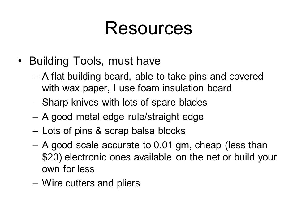 Resources Building Tools, must have