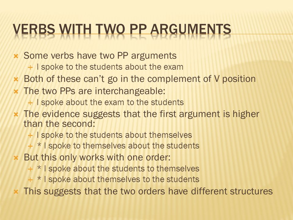 Verbs with two PP arguments
