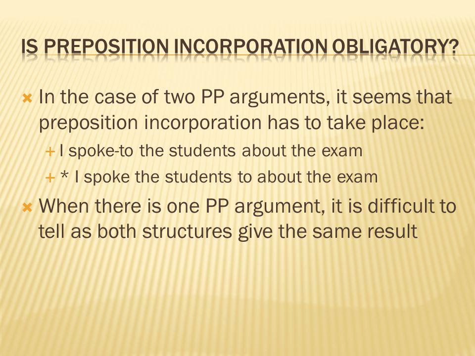 Is preposition incorporation obligatory