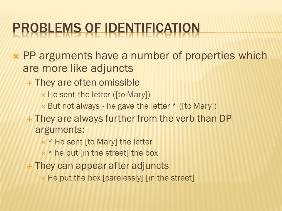 Problems of identification