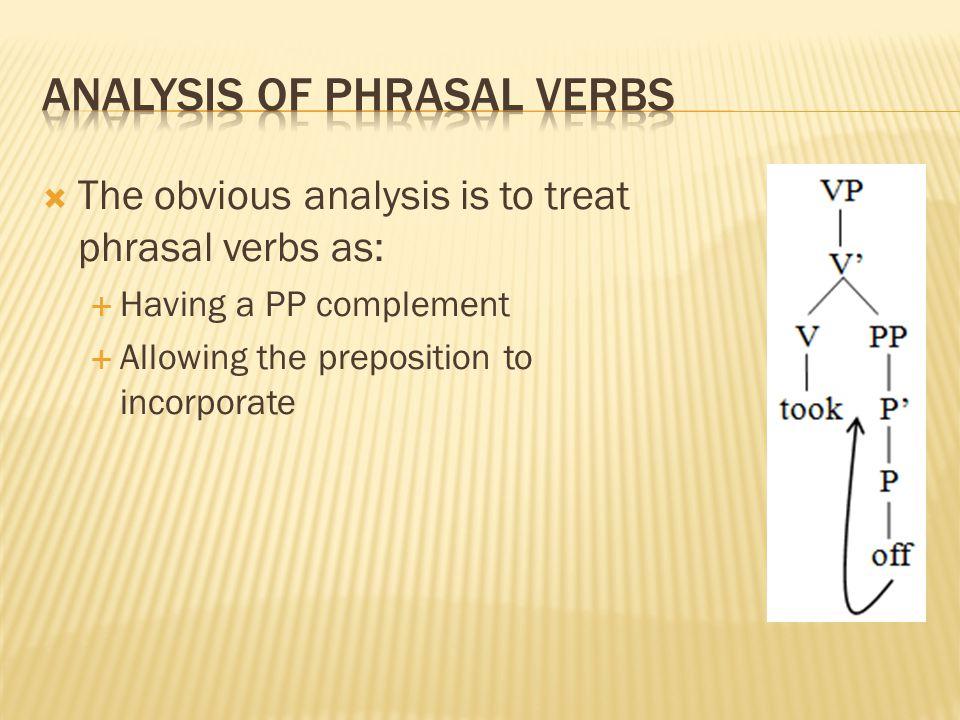 Analysis of phrasal verbs