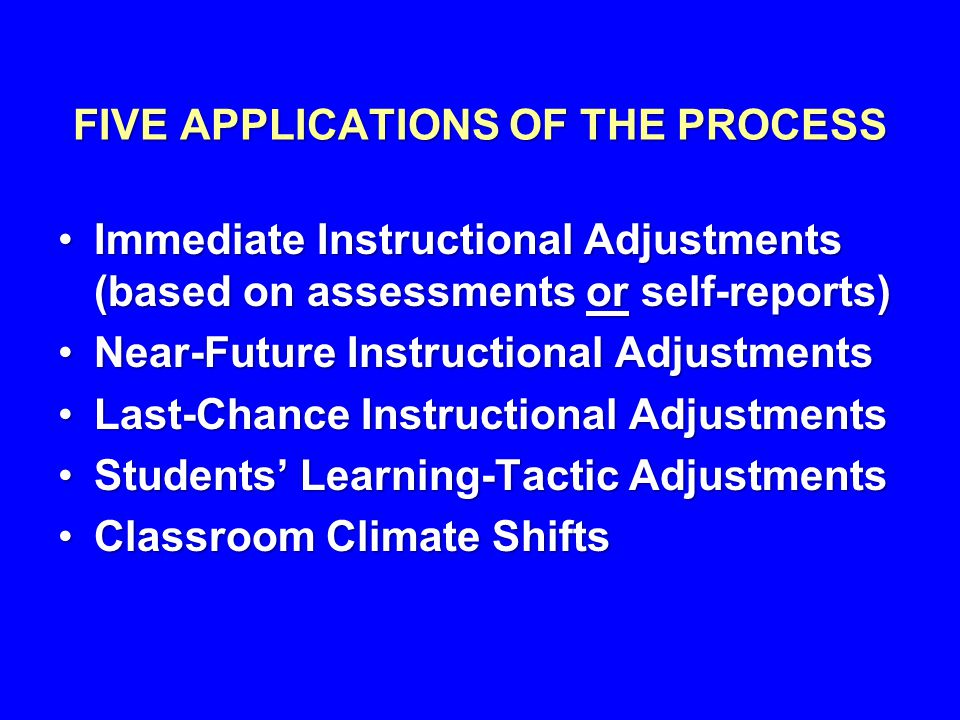 FIVE APPLICATIONS OF THE PROCESS