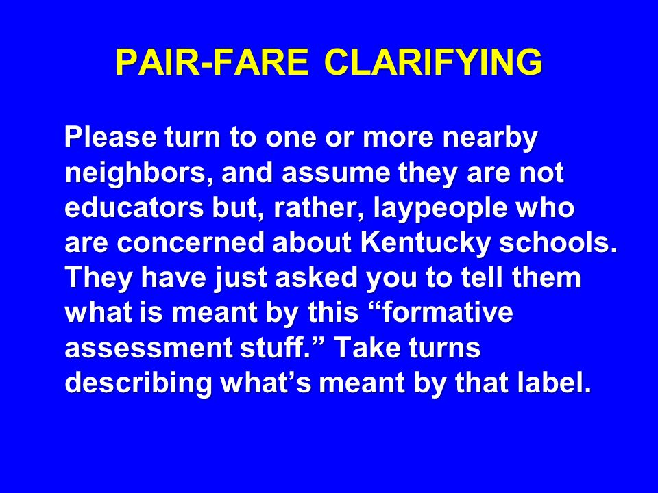 PAIR-FARE CLARIFYING