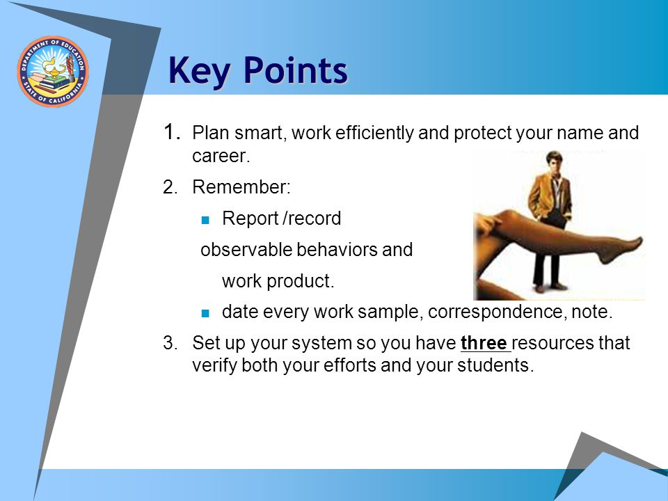 Key Points 1. Plan smart, work efficiently and protect your name and career. 2. Remember: Report /record.