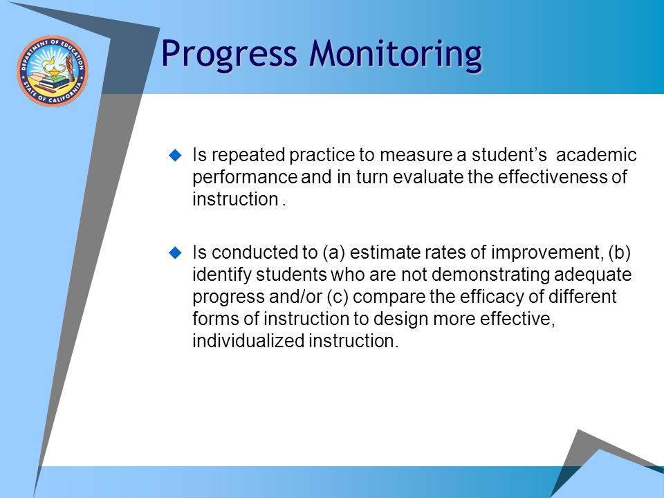 Progress Monitoring Is repeated practice to measure a student's academic performance and in turn evaluate the effectiveness of instruction .