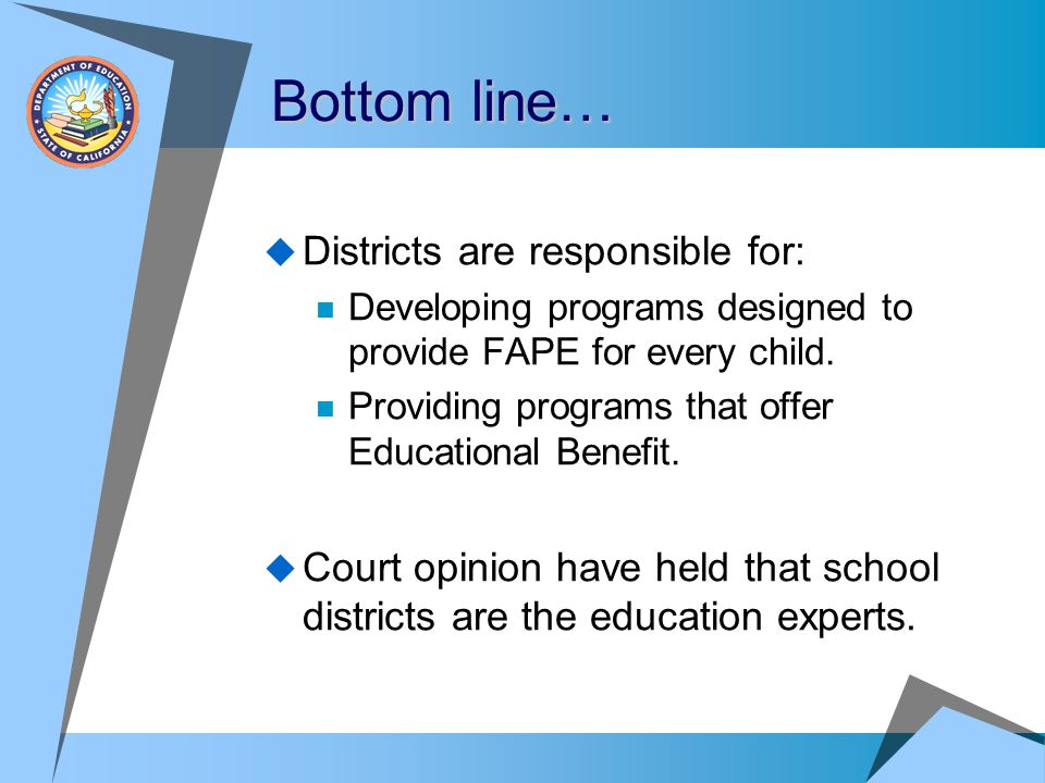 Bottom line… Districts are responsible for: