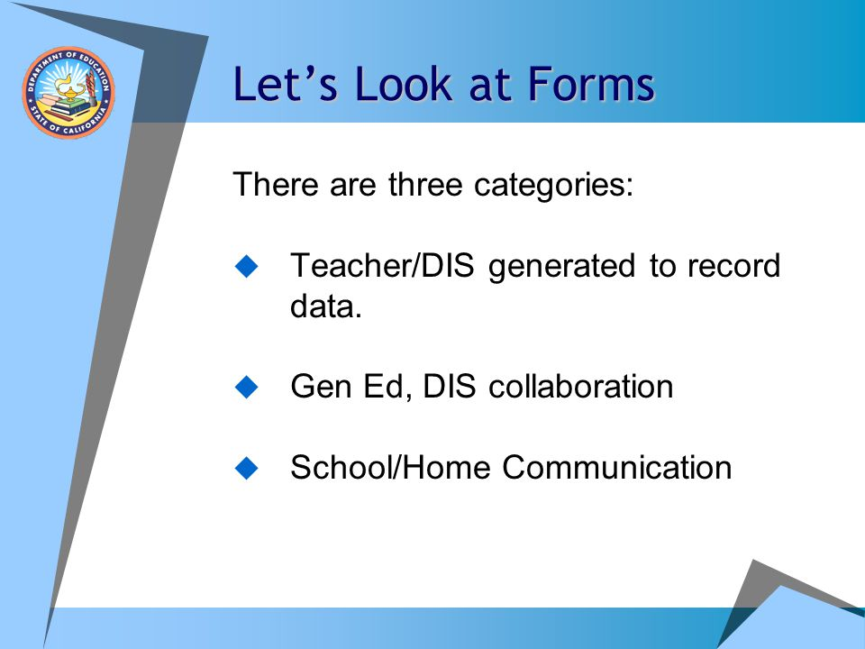 Let's Look at Forms There are three categories: