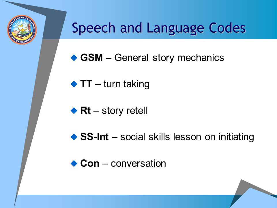 Speech and Language Codes