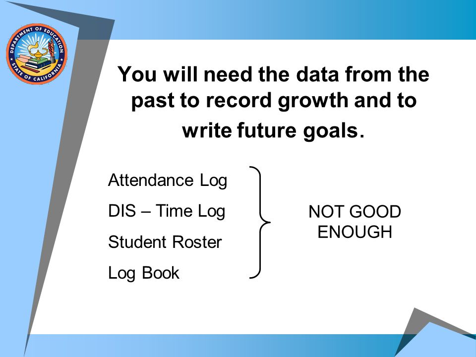 You will need the data from the past to record growth and to write future goals.