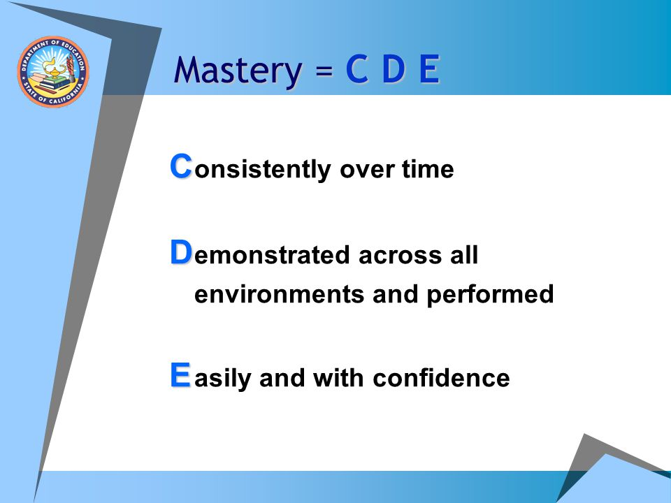 Mastery = C D E C onsistently over time D emonstrated across all