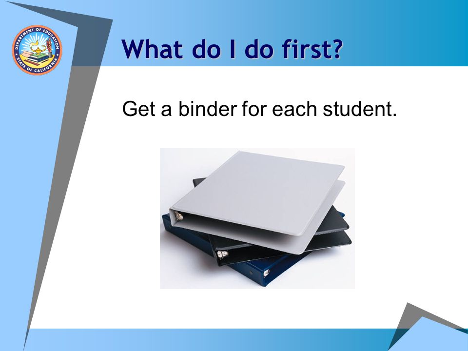 What do I do first Get a binder for each student.