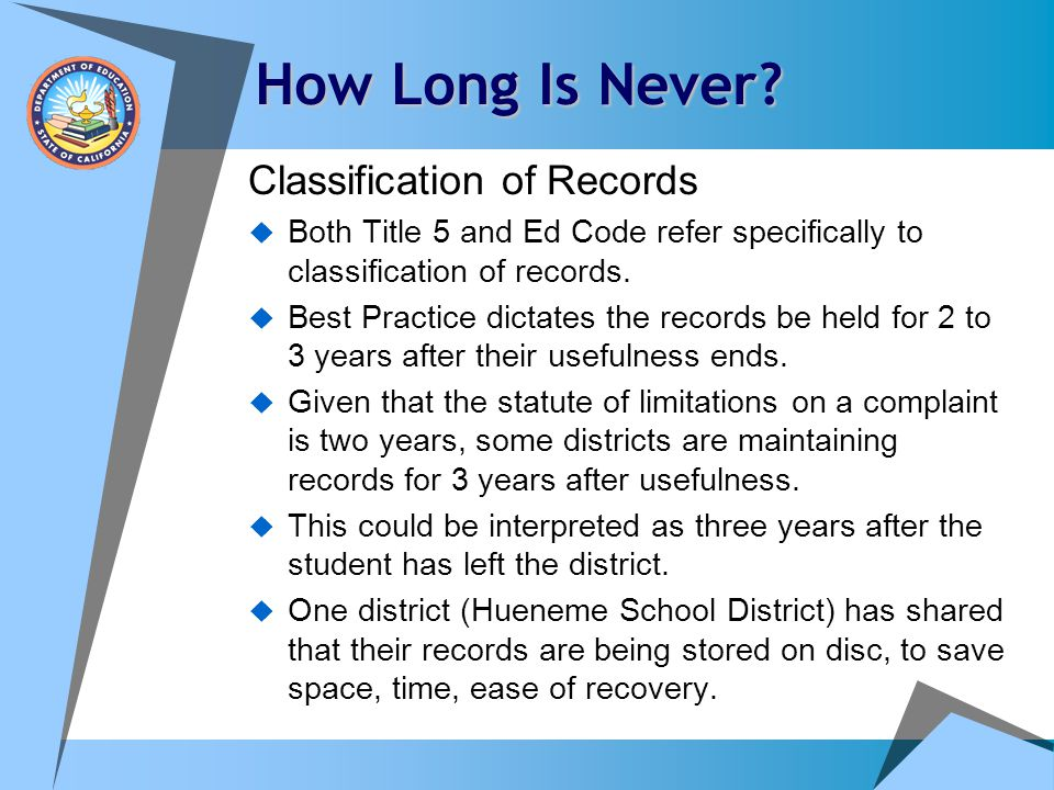 How Long Is Never Classification of Records