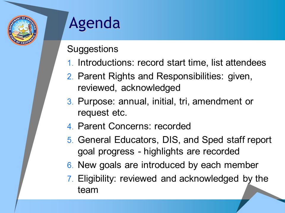 Agenda Suggestions Introductions: record start time, list attendees
