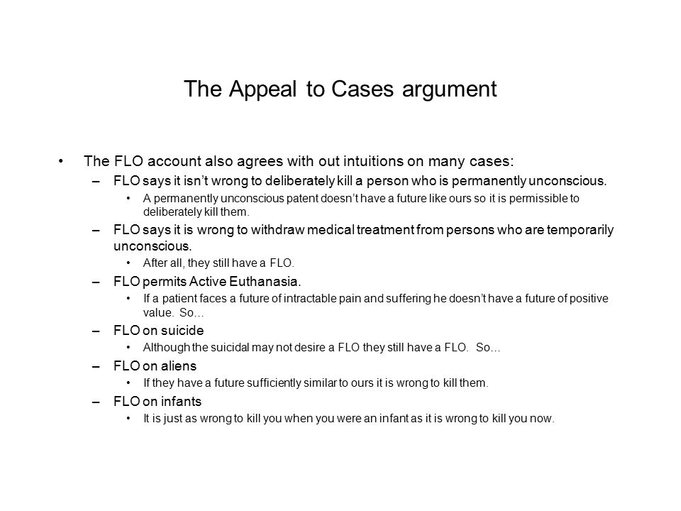 The Appeal to Cases argument