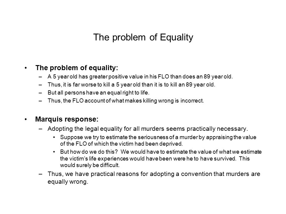 The problem of Equality