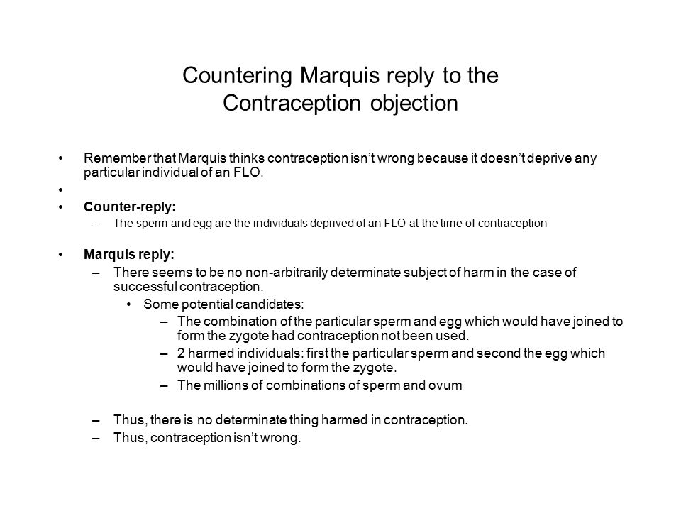 Countering Marquis reply to the Contraception objection