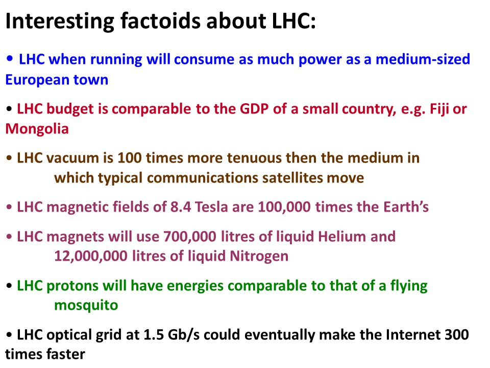 Interesting factoids about LHC: