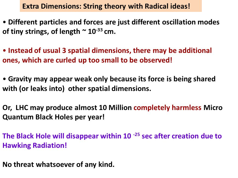 Extra Dimensions: String theory with Radical ideas!