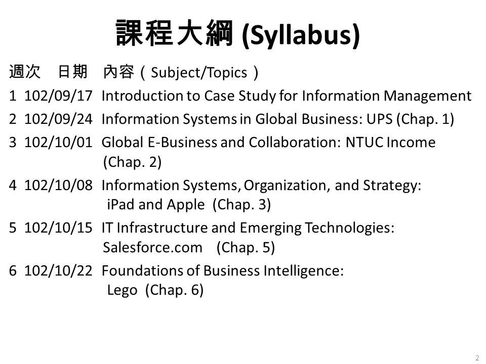 課程大綱 (Syllabus)