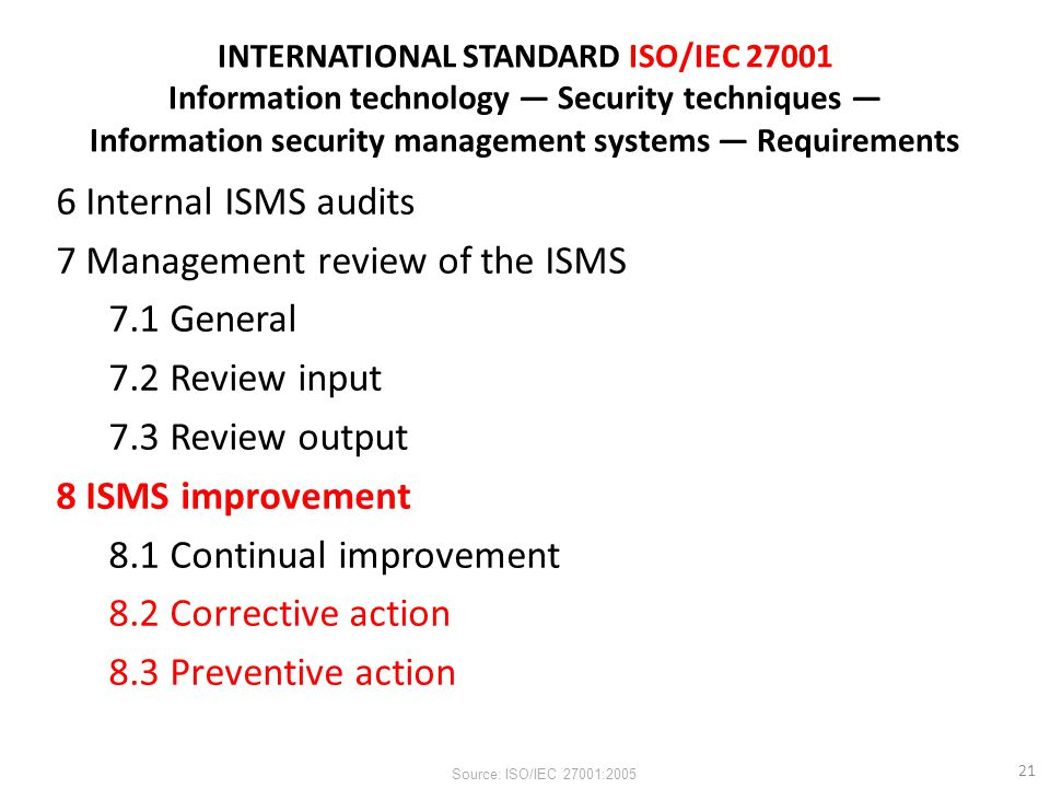 7 Management review of the ISMS 7.1 General 7.2 Review input