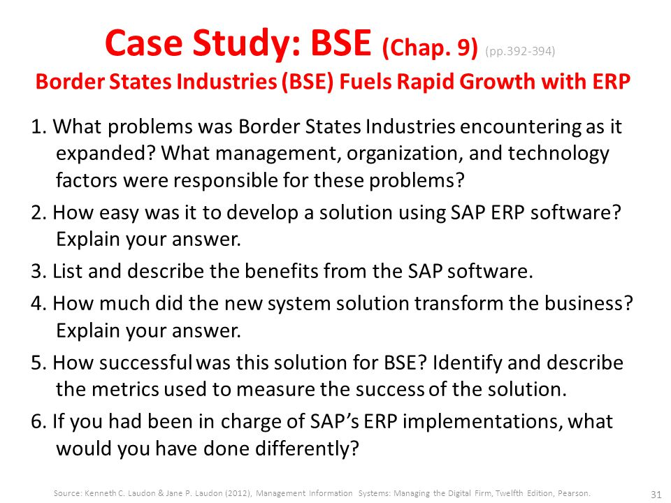 5 how successful was this solution for bse identify and describe the metrics used to measure the suc Boder states industries fuels rapid growth with erp 1 issues 1 a what problems was border states industries encountering find study resources  5 a how successful was this solution for bse b identify and describe the metrics used to measure the success of the solution 6.