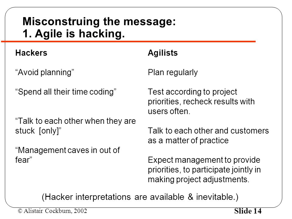 Misconstruing the message: 1. Agile is hacking.