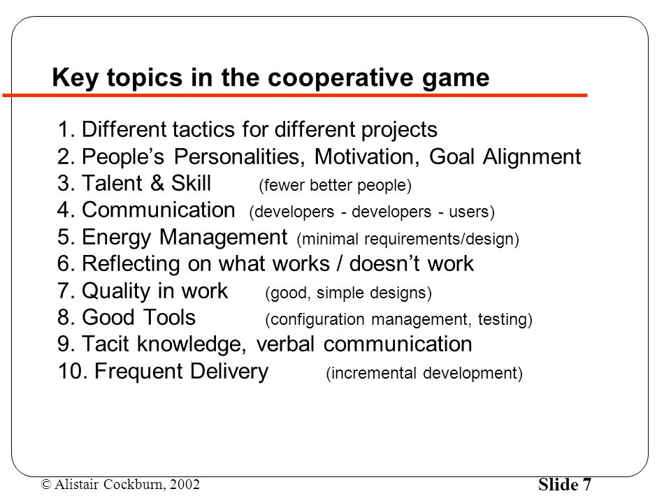 Key topics in the cooperative game