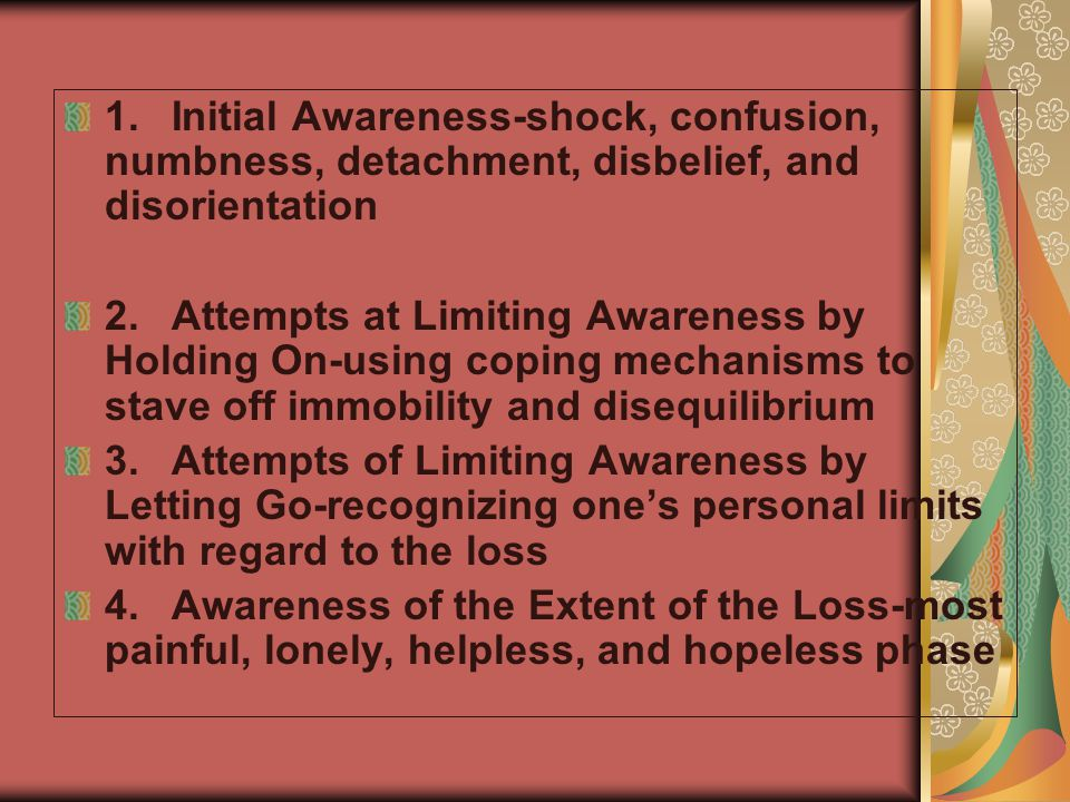 1. Initial Awareness-shock, confusion, numbness, detachment, disbelief, and disorientation