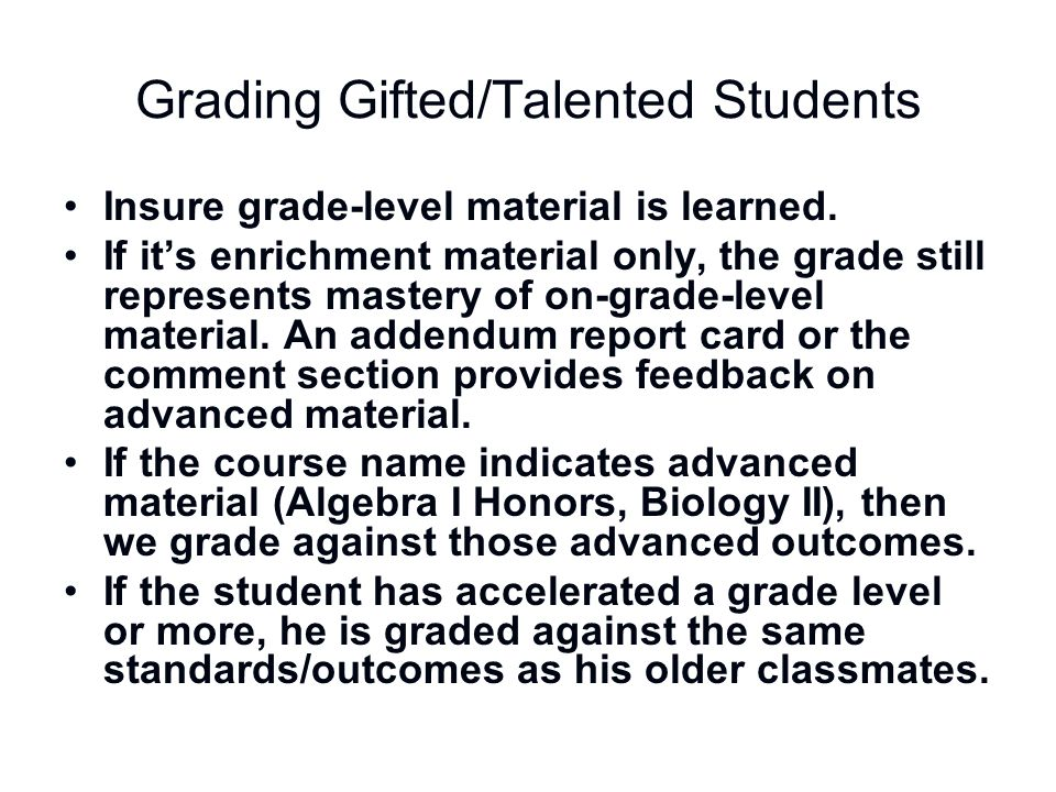Grading Gifted/Talented Students