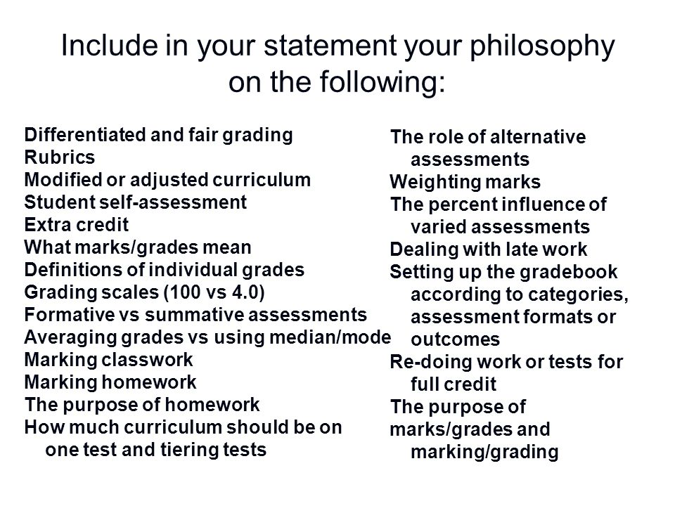 Include in your statement your philosophy on the following: