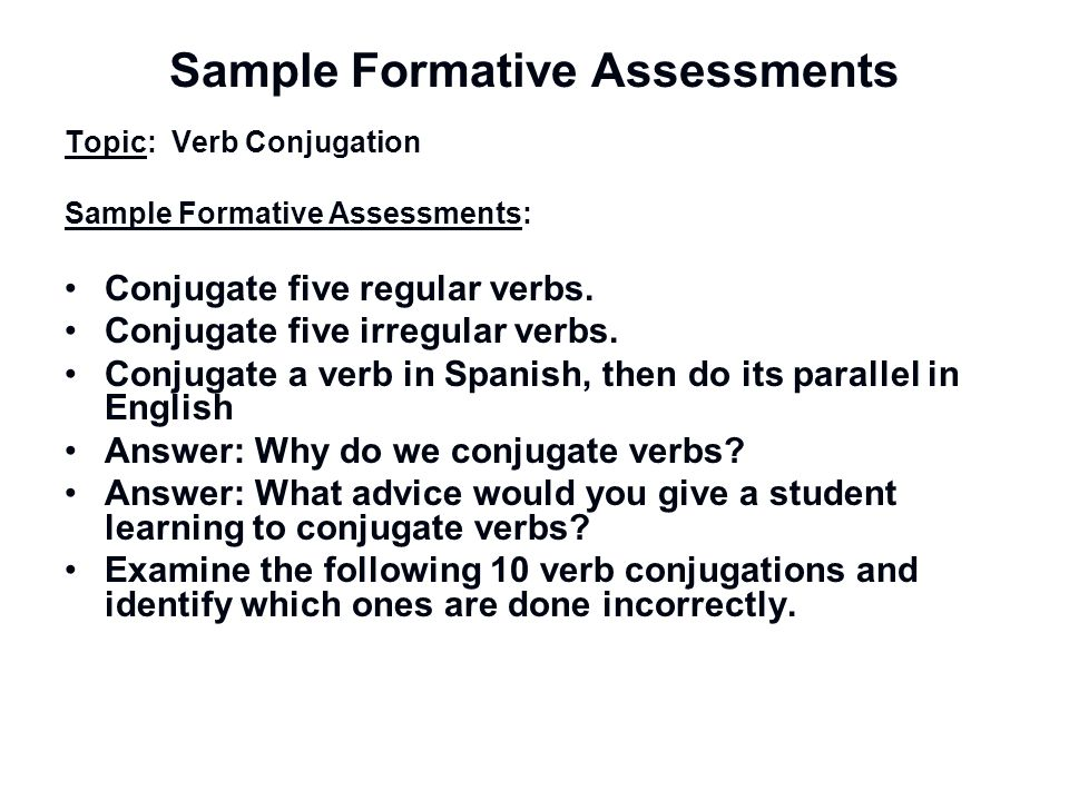 Sample Formative Assessments