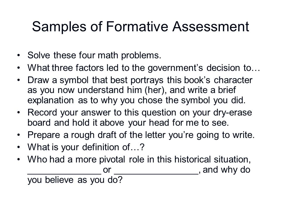 Samples of Formative Assessment